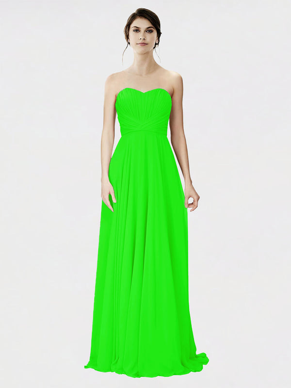 Mila Queen Danee Bridesmaid Dress Lime Green - A-Line Strapless Long Bridesmaid Gown Danee in Lime Green