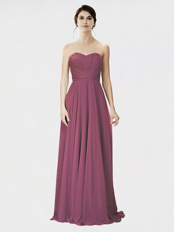 Mila Queen Danee Bridesmaid Dress Mauve Taupe - A-Line Strapless Long Bridesmaid Gown Danee in Mauve Taupe