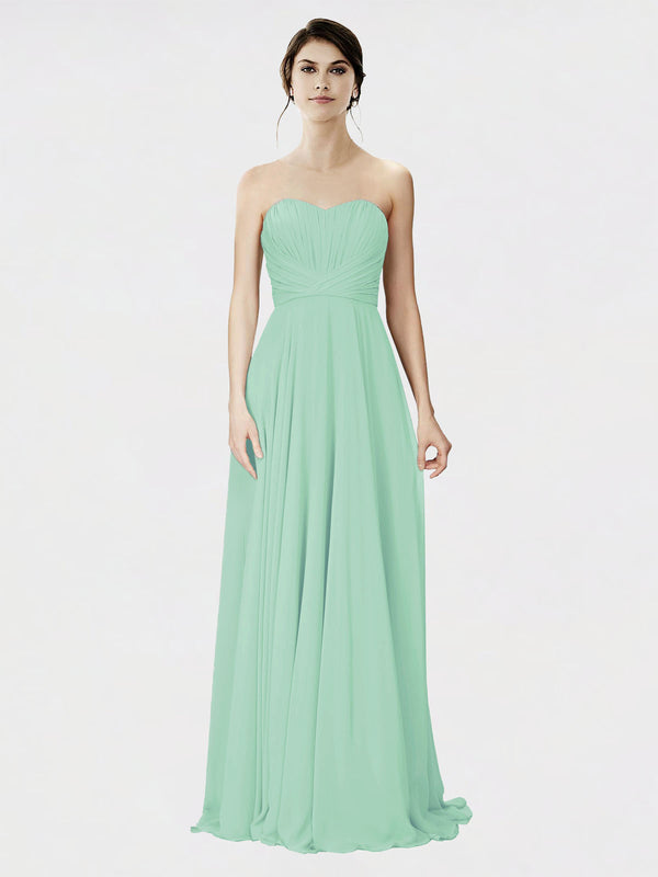 Mila Queen Danee Bridesmaid Dress Mint Green - A-Line Strapless Long Bridesmaid Gown Danee in Mint Green