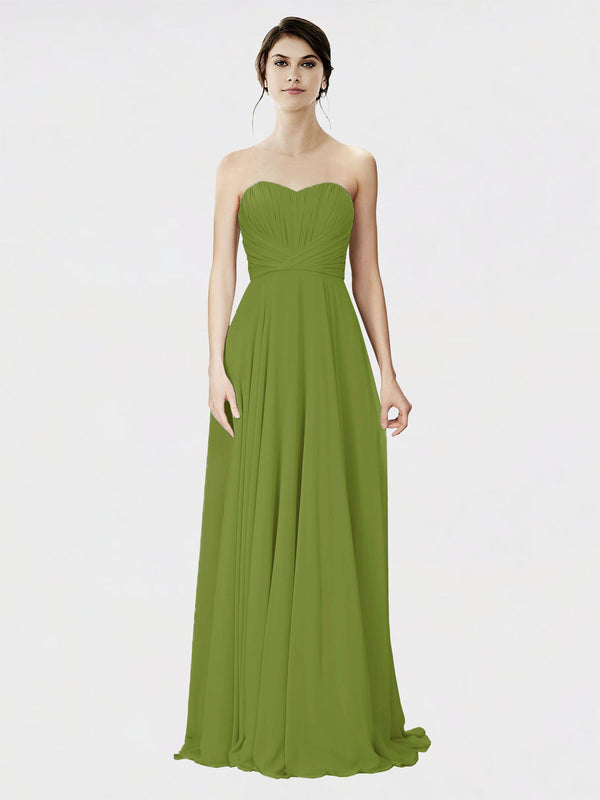 Mila Queen Danee Bridesmaid Dress Olive Green - A-Line Strapless Long Bridesmaid Gown Danee in Olive Green