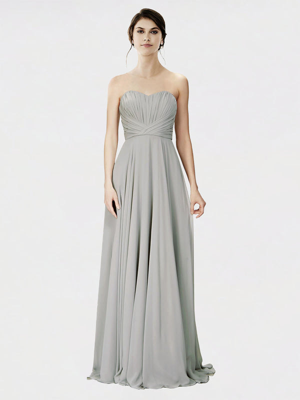 Mila Queen Danee Bridesmaid Dress Oyster Silver - A-Line Strapless Long Bridesmaid Gown Danee in Oyster Silver