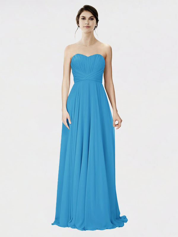 Mila Queen Danee Bridesmaid Dress Peacock Blue - A-Line Strapless Long Bridesmaid Gown Danee in Peacock Blue
