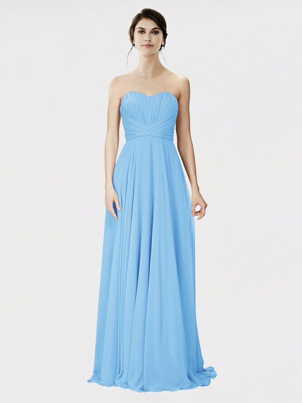Mila Queen Danee Bridesmaid Dress Periwinkle - A-Line Strapless Long Bridesmaid Gown Danee in Periwinkle