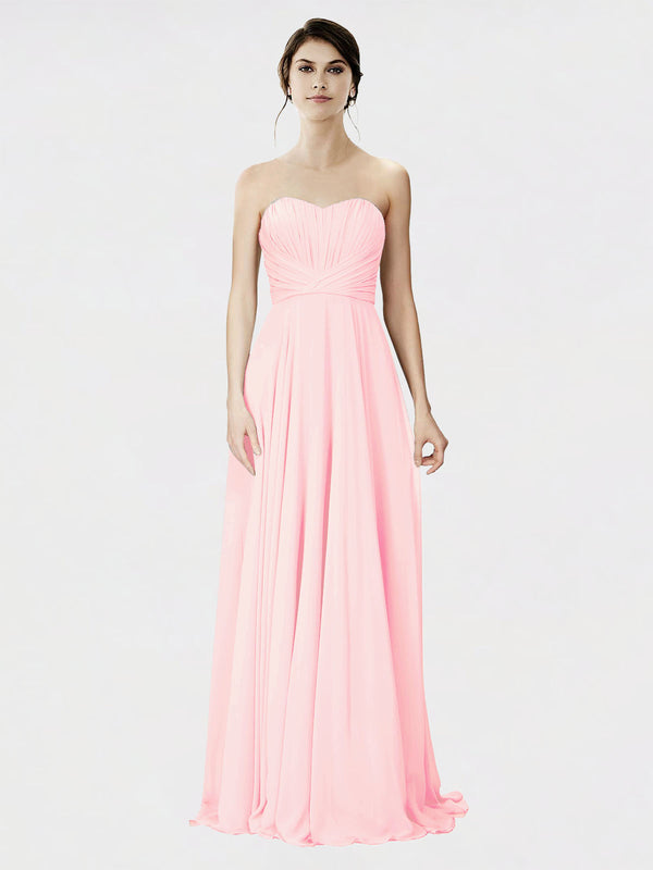 Mila Queen Danee Bridesmaid Dress Pink - A-Line Strapless Long Bridesmaid Gown Danee in Pink