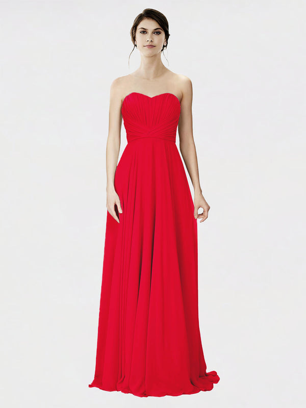 Mila Queen Danee Bridesmaid Dress Red - A-Line Strapless Long Bridesmaid Gown Danee in Red