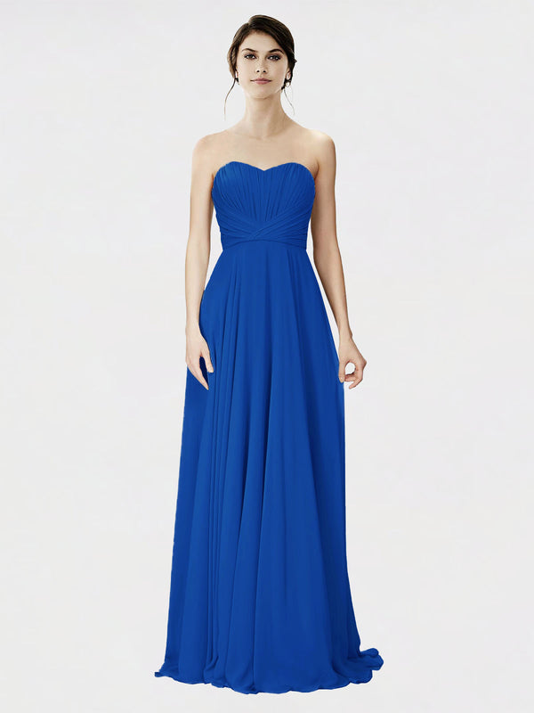 Mila Queen Danee Bridesmaid Dress Royal Blue - A-Line Strapless Long Bridesmaid Gown Danee in Royal Blue