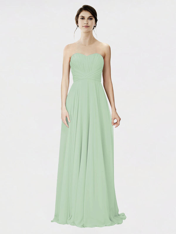 Mila Queen Danee Bridesmaid Dress Sage - A-Line Strapless Long Bridesmaid Gown Danee in Sage