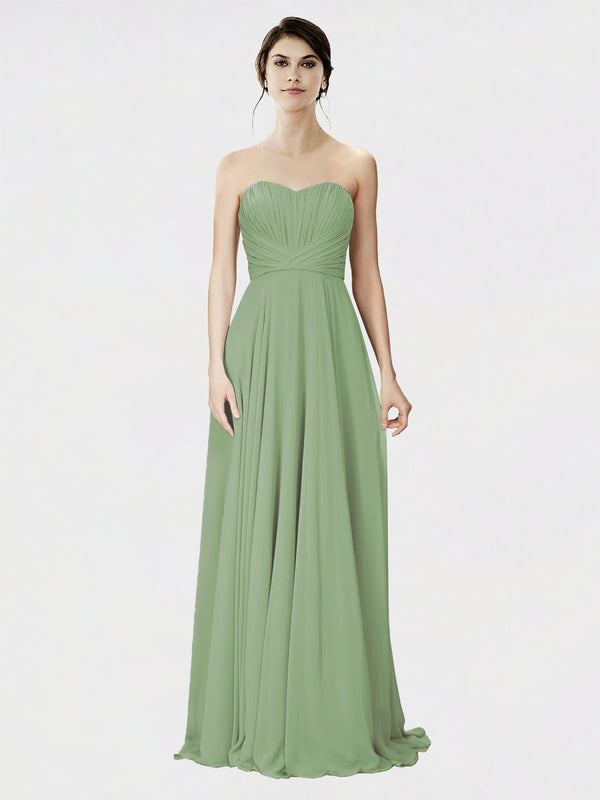 Mila Queen Danee Bridesmaid Dress Seagrass - A-Line Strapless Long Bridesmaid Gown Danee in Seagrass