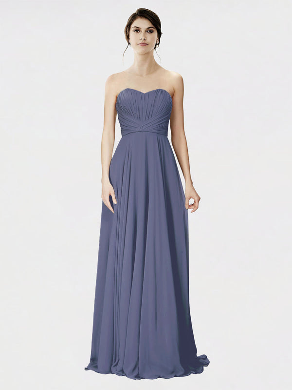 Mila Queen Danee Bridesmaid Dress Silver Stone - A-Line Strapless Long Bridesmaid Gown Danee in Silver Stone