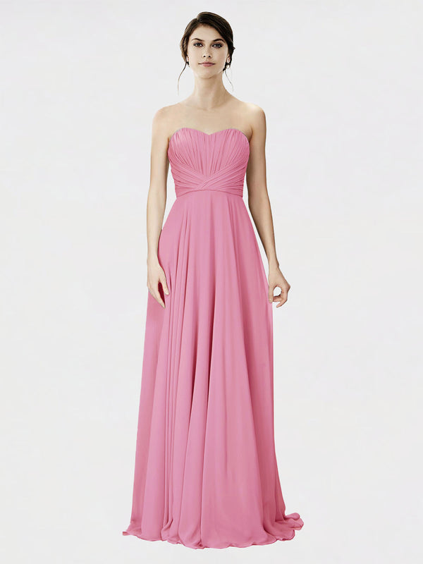 Mila Queen Danee Bridesmaid Dress Skin Pink - A-Line Strapless Long Bridesmaid Gown Danee in Skin Pink