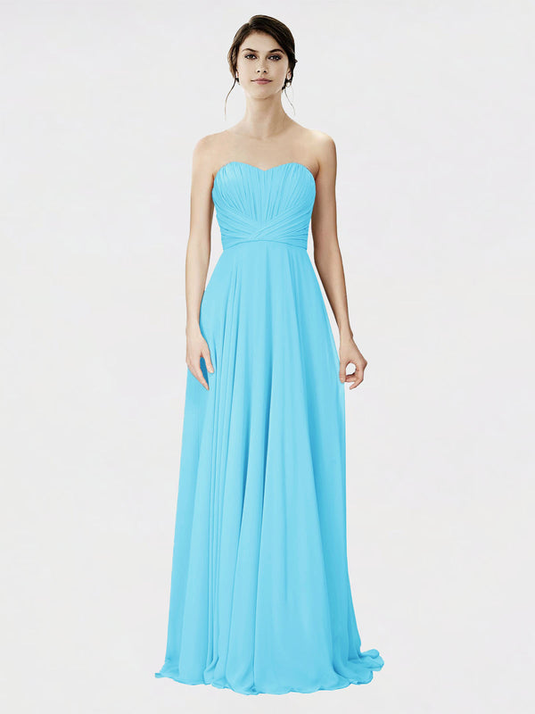 Mila Queen Danee Bridesmaid Dress Sky Blue - A-Line Strapless Long Bridesmaid Gown Danee in Sky Blue