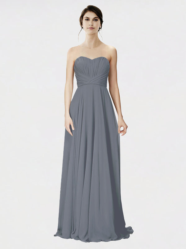 Mila Queen Danee Bridesmaid Dress Slate Grey - A-Line Strapless Long Bridesmaid Gown Danee in Slate Grey
