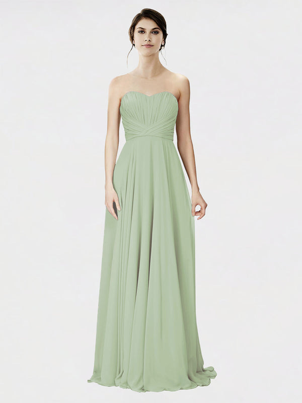 Mila Queen Danee Bridesmaid Dress Smoke Green - A-Line Strapless Long Bridesmaid Gown Danee in Smoke Green