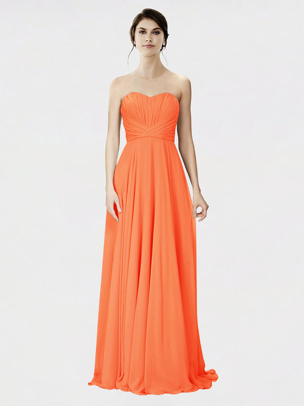 Mila Queen Danee Bridesmaid Dress Tangerine Tango - A-Line Strapless Long Bridesmaid Gown Danee in Tangerine Tango