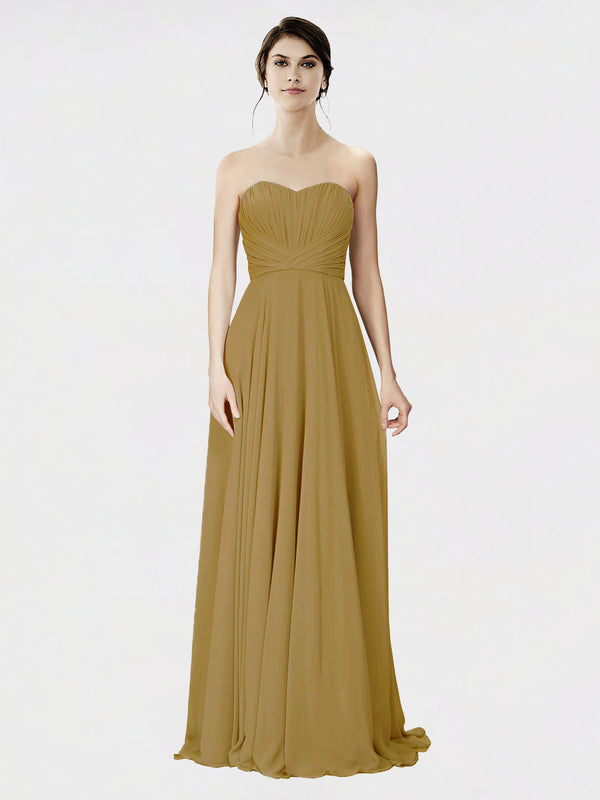 Mila Queen Danee Bridesmaid Dress Topaz - A-Line Strapless Long Bridesmaid Gown Danee in Topaz
