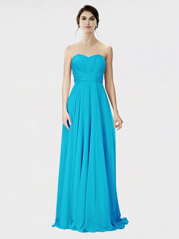 Mila Queen Danee Bridesmaid Dress Turquoise - A-Line Strapless Long Bridesmaid Gown Danee in Turquoise
