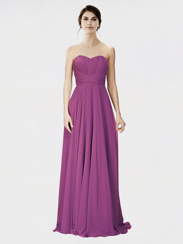 Mila Queen Danee Bridesmaid Dress Wild Berry - A-Line Strapless Long Bridesmaid Gown Danee in Wild Berry