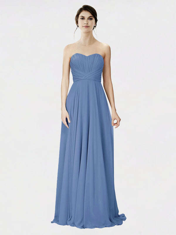 Mila Queen Danee Bridesmaid Dress Windsor Blue - A-Line Strapless Long Bridesmaid Gown Danee in Windsor Blue