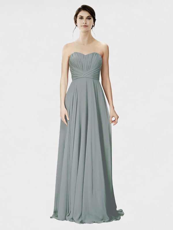 Mila Queen Danee Bridesmaid Dress Wisteria - A-Line Strapless Long Bridesmaid Gown Danee in Wisteria