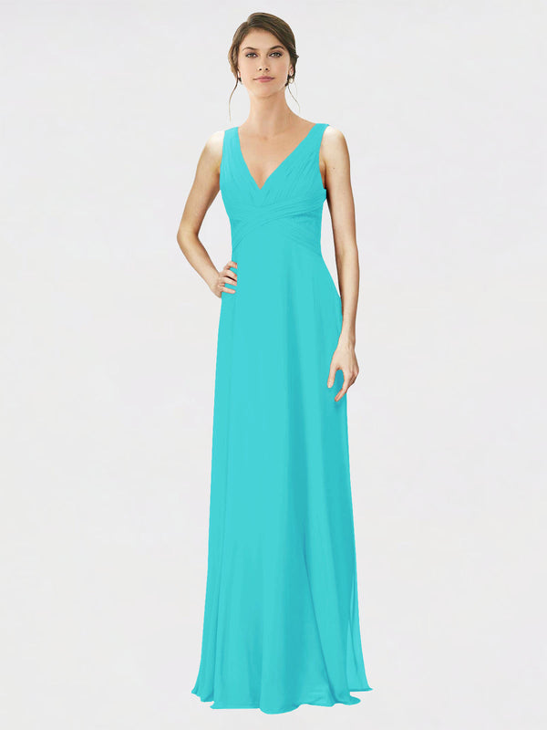 Mila Queen Jennylyn Bridesmaid Dress Aqua - A-Line V-Neck Long Bridesmaid Gown Jennylyn in Aqua