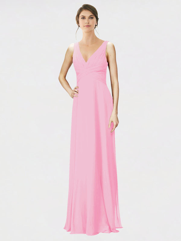 Mila Queen Jennylyn Bridesmaid Dress Barely Pink - A-Line V-Neck Long Bridesmaid Gown Jennylyn in Barely Pink