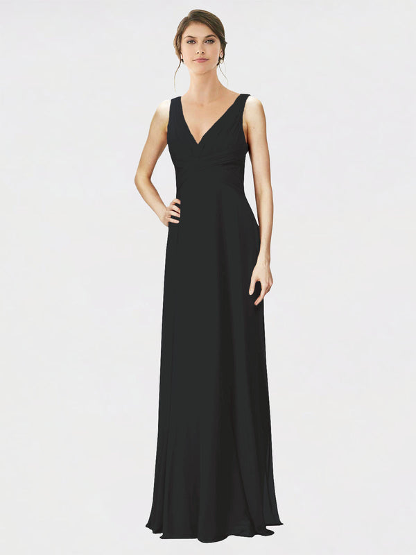 Mila Queen Jennylyn Bridesmaid Dress Black - A-Line V-Neck Long Bridesmaid Gown Jennylyn in Black