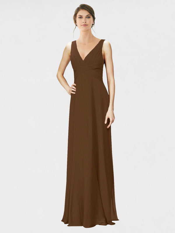 Mila Queen Jennylyn Bridesmaid Dress Brown - A-Line V-Neck Long Bridesmaid Gown Jennylyn in Brown