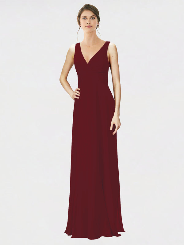 Mila Queen Jennylyn Bridesmaid Dress Burgundy - A-Line V-Neck Long Bridesmaid Gown Jennylyn in Burgundy