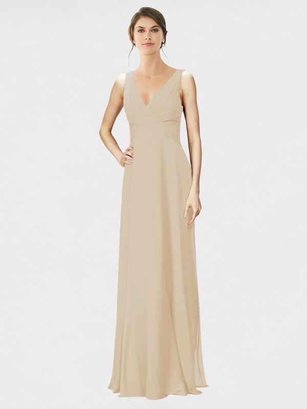 Mila Queen Jennylyn Bridesmaid Dress Champagne - A-Line V-Neck Long Bridesmaid Gown Jennylyn in Champagne