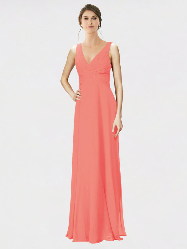 Mila Queen Jennylyn Bridesmaid Dress Coral - A-Line V-Neck Long Bridesmaid Gown Jennylyn in Coral