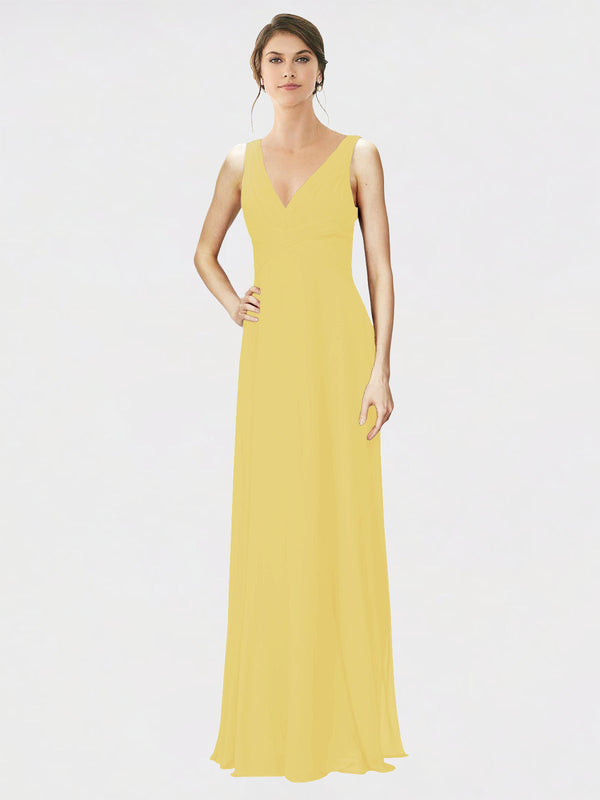 Mila Queen Jennylyn Bridesmaid Dress Daffodil - A-Line V-Neck Long Bridesmaid Gown Jennylyn in Daffodil