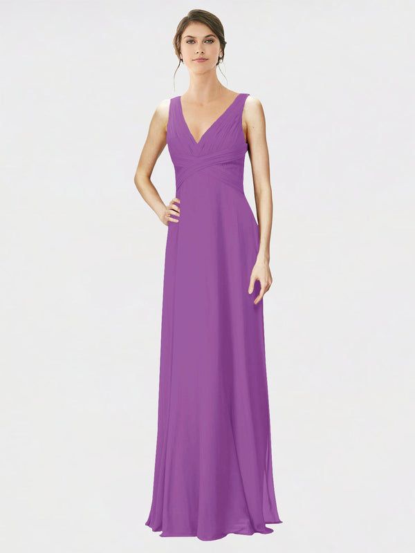 Mila Queen Jennylyn Bridesmaid Dress Dahlia - A-Line V-Neck Long Bridesmaid Gown Jennylyn in Dahlia