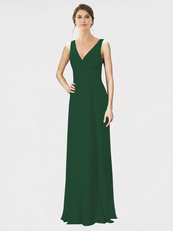 Mila Queen Jennylyn Bridesmaid Dress Dark Green - A-Line V-Neck Long Bridesmaid Gown Jennylyn in Dark Green