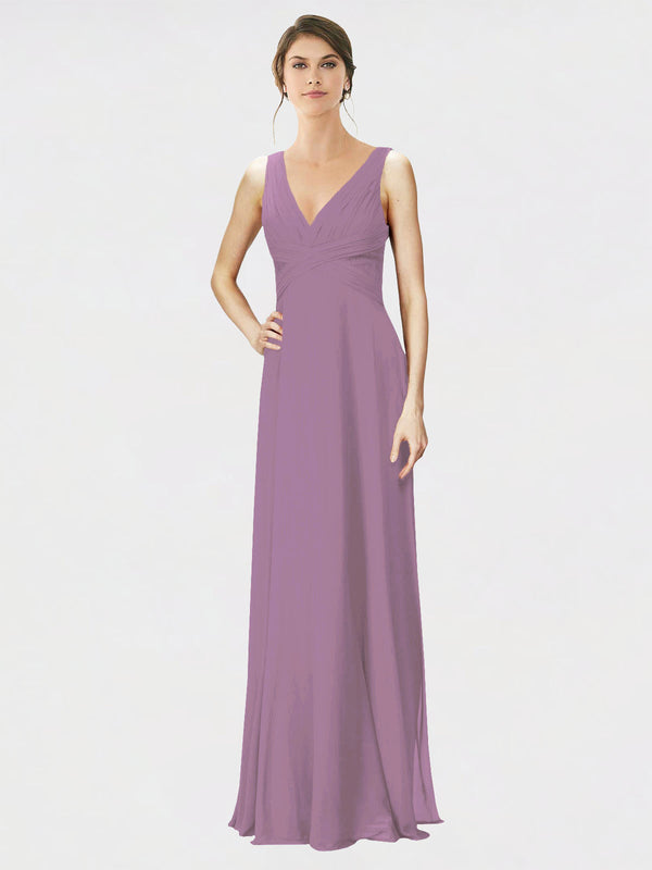 Mila Queen Jennylyn Bridesmaid Dress Dark Lavender - A-Line V-Neck Long Bridesmaid Gown Jennylyn in Dark Lavender
