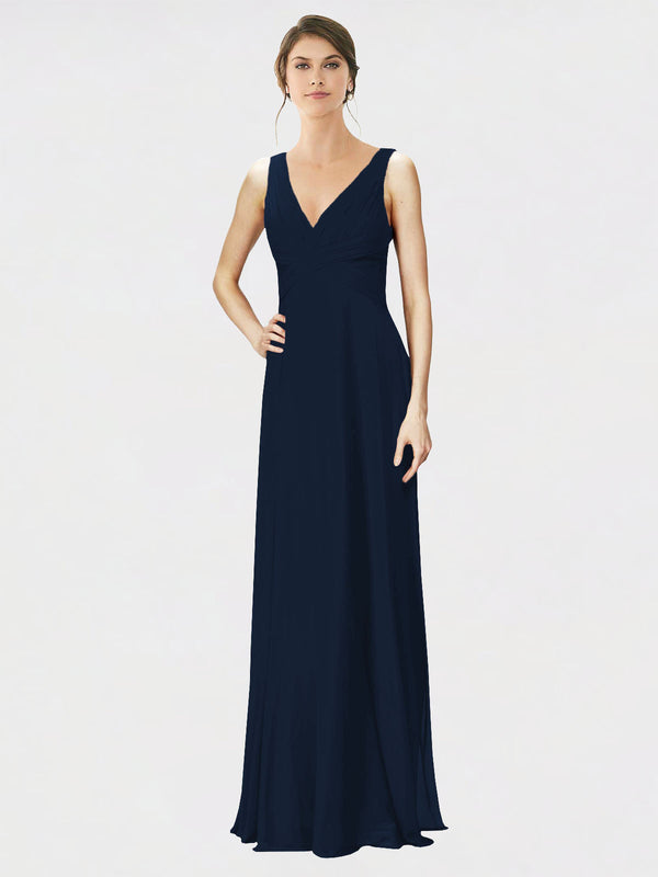 Mila Queen Jennylyn Bridesmaid Dress Dark Navy - A-Line V-Neck Long Bridesmaid Gown Jennylyn in Dark Navy