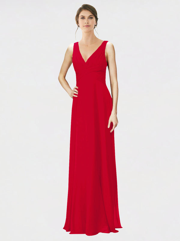 Mila Queen Jennylyn Bridesmaid Dress Dark Red - A-Line V-Neck Long Bridesmaid Gown Jennylyn in Dark Red