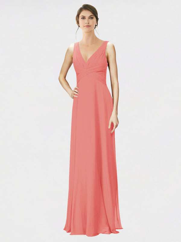 Mila Queen Jennylyn Bridesmaid Dress Desert Rose - A-Line V-Neck Long Bridesmaid Gown Jennylyn in Desert Rose