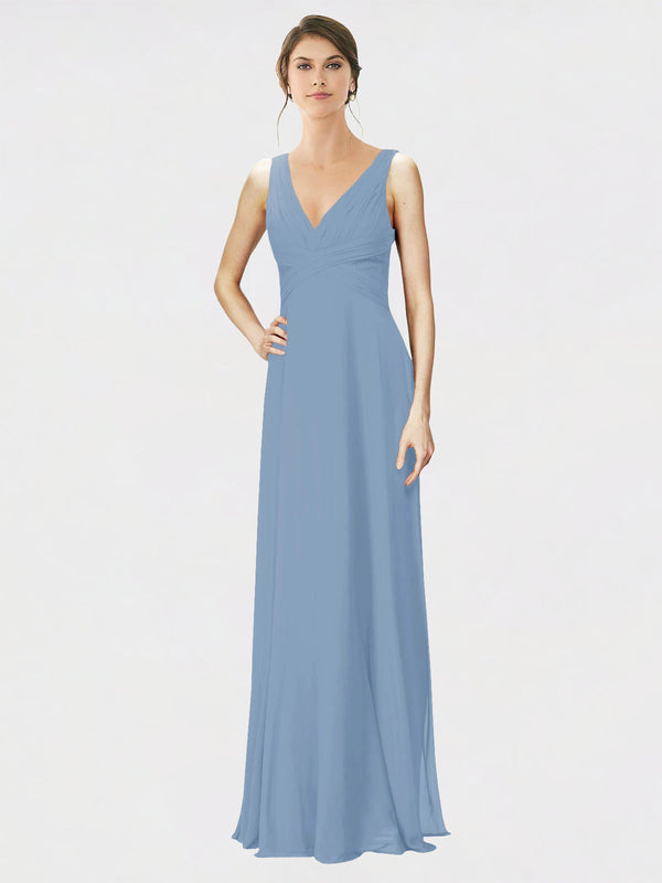 Mila Queen Jennylyn Bridesmaid Dress Dusty Blue - A-Line V-Neck Long Bridesmaid Gown Jennylyn in Dusty Blue