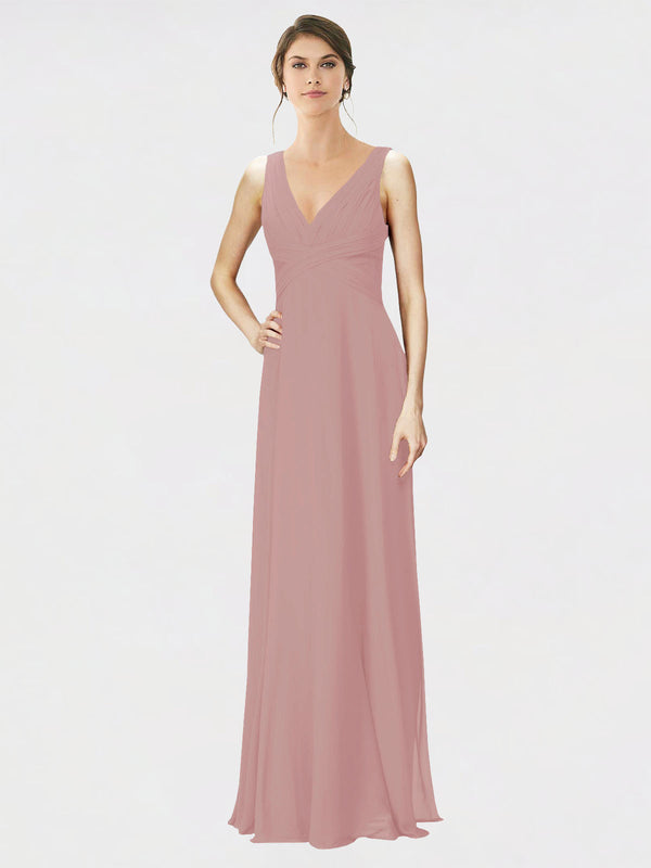 Mila Queen Jennylyn Bridesmaid Dress Dusty Pink - A-Line V-Neck Long Bridesmaid Gown Jennylyn in Dusty Pink