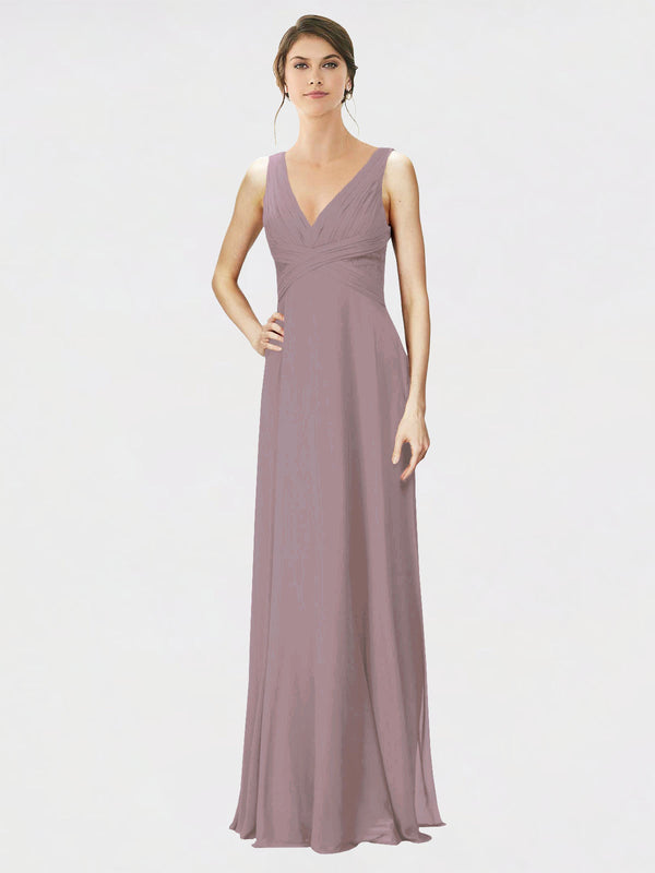 Mila Queen Jennylyn Bridesmaid Dress Dusty Rose - A-Line V-Neck Long Bridesmaid Gown Jennylyn in Dusty Rose