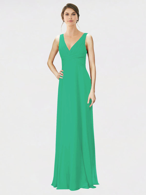 Mila Queen Jennylyn Bridesmaid Dress Emerald Green - A-Line V-Neck Long Bridesmaid Gown Jennylyn in Emerald Green