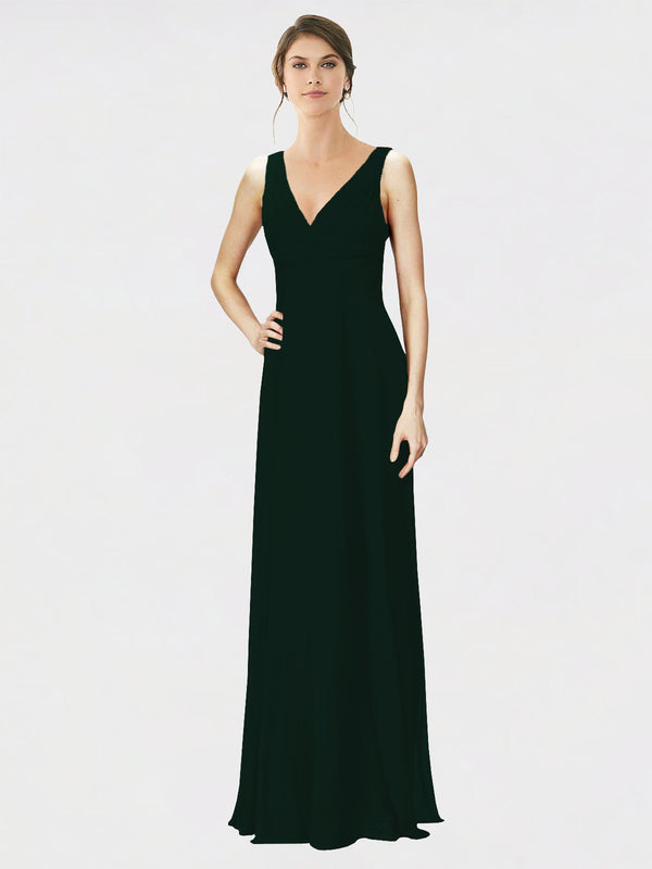 Mila Queen Jennylyn Bridesmaid Dress Ever Green - A-Line V-Neck Long Bridesmaid Gown Jennylyn in Ever Green