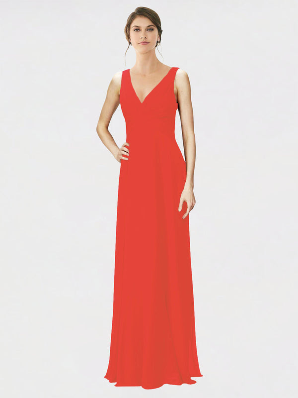 Mila Queen Jennylyn Bridesmaid Dress Firecracker - A-Line V-Neck Long Bridesmaid Gown Jennylyn in Firecracker