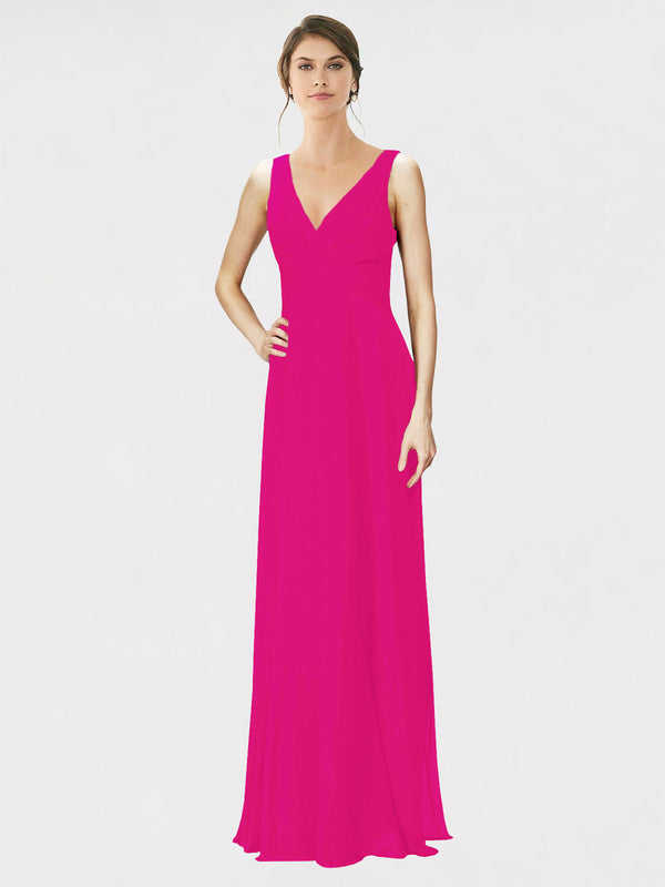 Mila Queen Jennylyn Bridesmaid Dress Fuchsia - A-Line V-Neck Long Bridesmaid Gown Jennylyn in Fuchsia