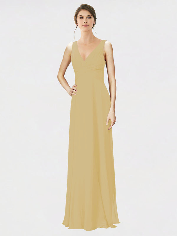 Mila Queen Jennylyn Bridesmaid Dress Gold - A-Line V-Neck Long Bridesmaid Gown Jennylyn in Gold