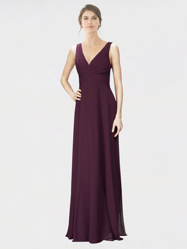 Mila Queen Jennylyn Bridesmaid Dress Grape - A-Line V-Neck Long Bridesmaid Gown Jennylyn in Grape
