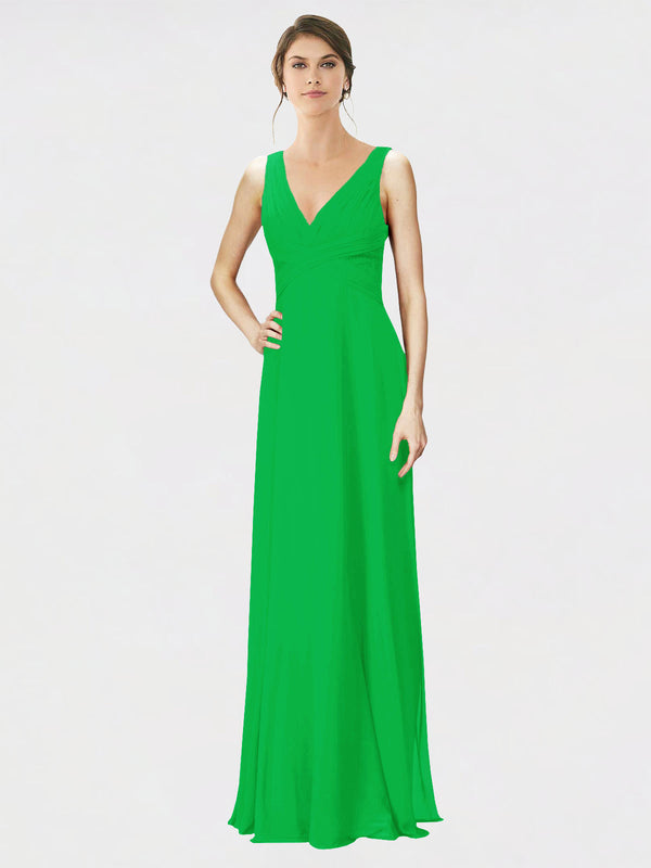 Mila Queen Jennylyn Bridesmaid Dress Green - A-Line V-Neck Long Bridesmaid Gown Jennylyn in Green