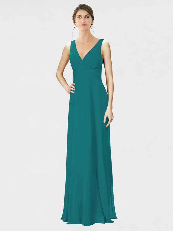 Mila Queen Jennylyn Bridesmaid Dress Hunter - A-Line V-Neck Long Bridesmaid Gown Jennylyn in Hunter