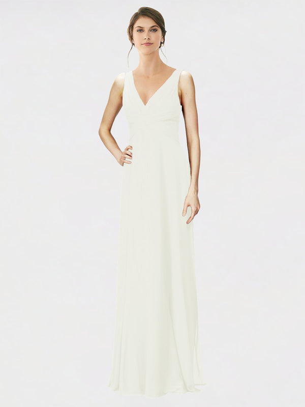 Mila Queen Jennylyn Bridesmaid Dress Ivory - A-Line V-Neck Long Bridesmaid Gown Jennylyn in Ivory