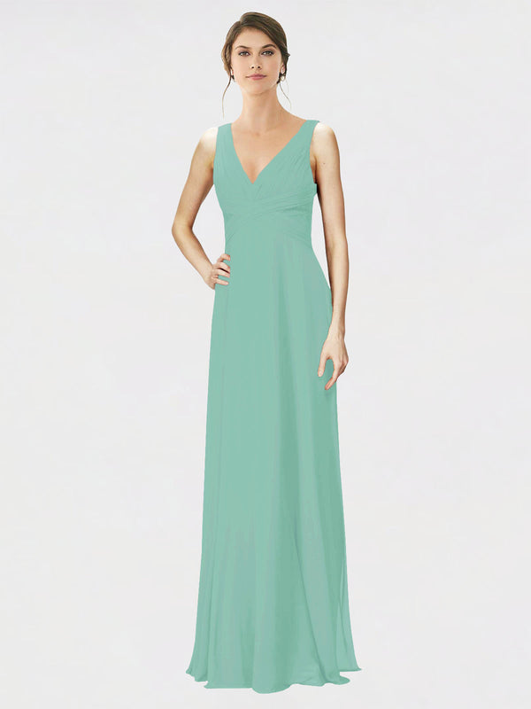Mila Queen Jennylyn Bridesmaid Dress Jade - A-Line V-Neck Long Bridesmaid Gown Jennylyn in Jade